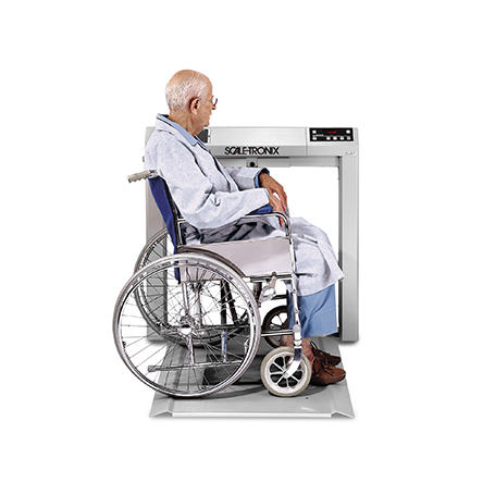 6202-XP-B: 6202 Stow-A-Weigh Wheelchair Scale with standard weight (lb/kg) (X), printer (P) and line cord adapter IEC Plug Type-B (B)